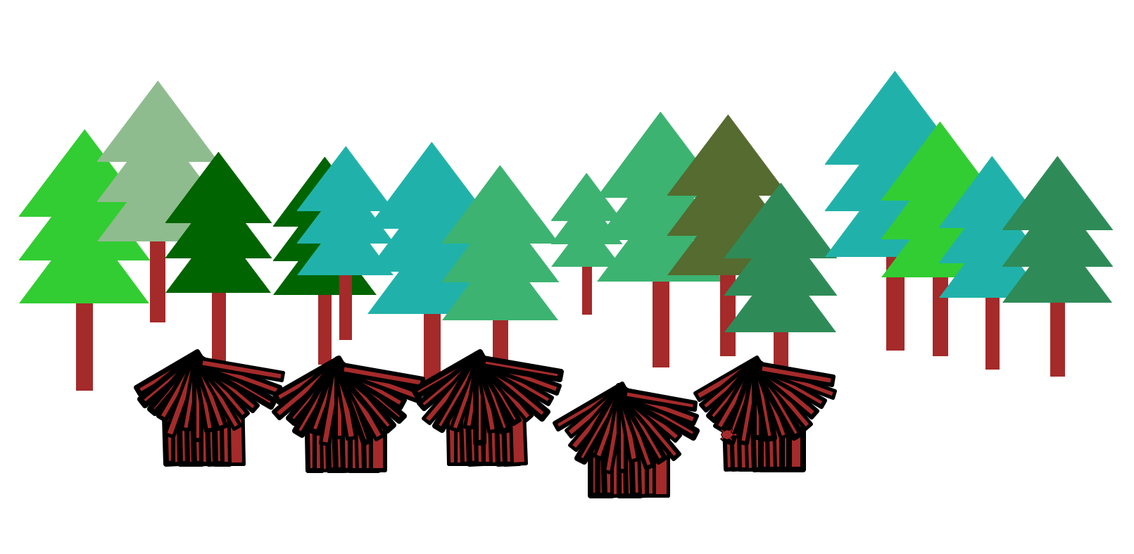To create this scene you will implement additional functions to draw a tree a hut a forest and a village